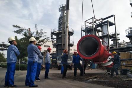 宝塔石化集团精细化工公司柴油加氢装置加热炉顺利安装