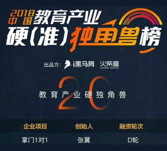 """掌门1对1普惠智能化教育 获评""""2018中国教育产业硬独角兽""""称号"""