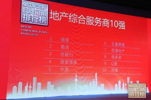 """链家问鼎""""2018年度房地产品牌价值榜单"""""""