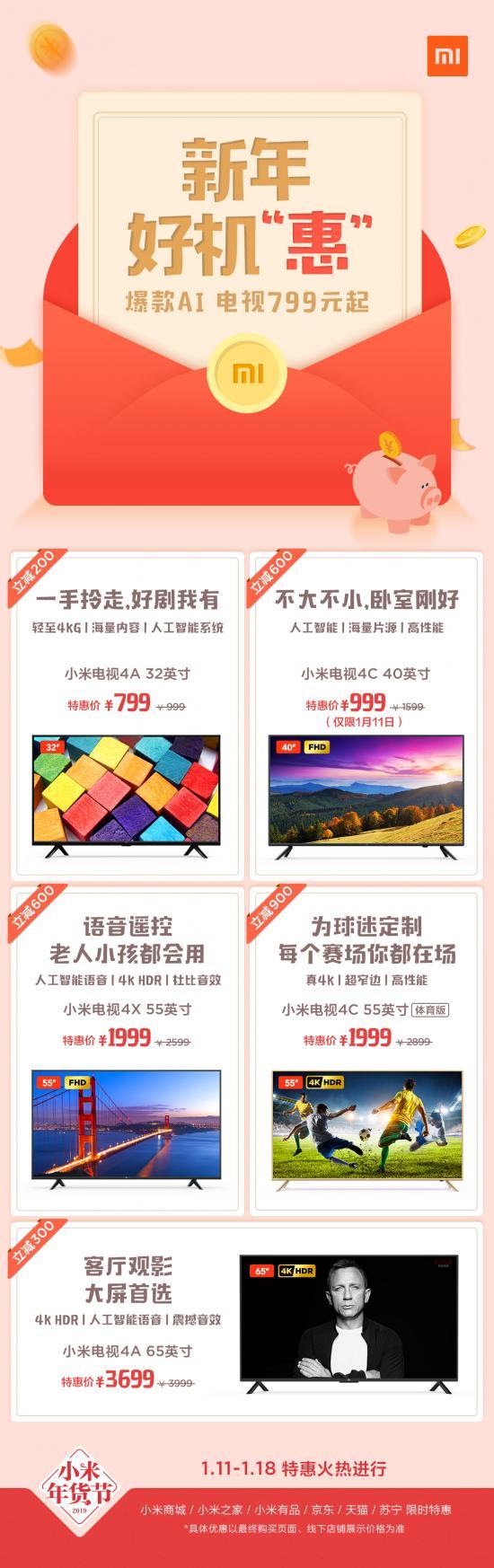 """40英寸电视仅999元 """"小米年货节""""价格疯狂"""