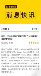 EOS账户突破70万,Newdex头部效应明显