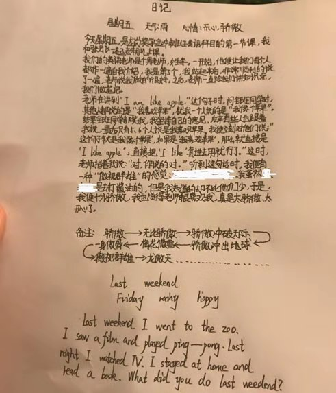 小学霸公开英语日记:我纠正了全班同学的翻译错误