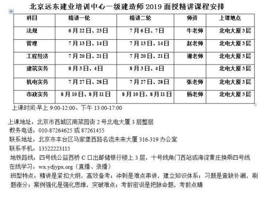 重磅消息!一级建造师2019北京面授一轮6月22日开课!远东建业培训中
